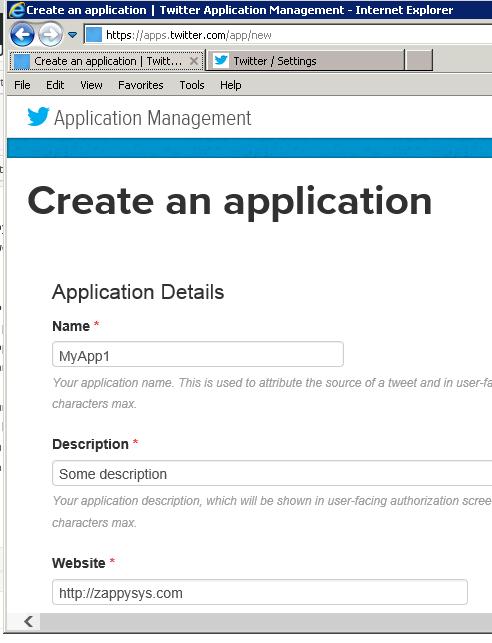 Create Twitter Application - REST API Access for Developer