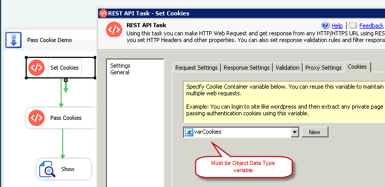SSIS REST API Task - Send Cookies with HTTP Web Request, Store Cookies in Variable