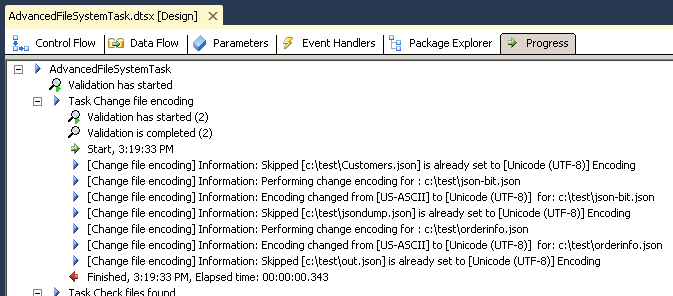 SSIS Execution log - Convert  files to UTF-8 using SSIS Advanced File System Task