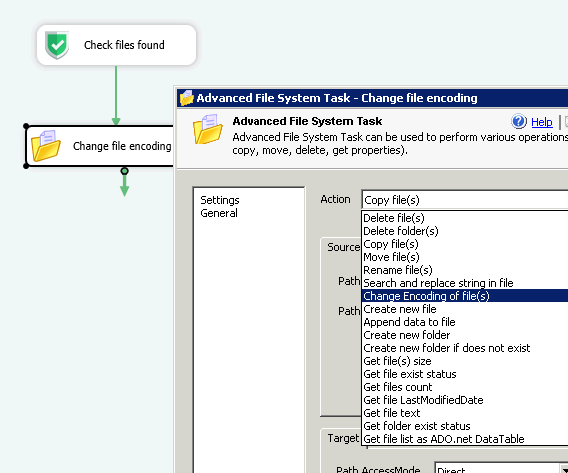 Change file encoding using SSIS Advanced File System Task