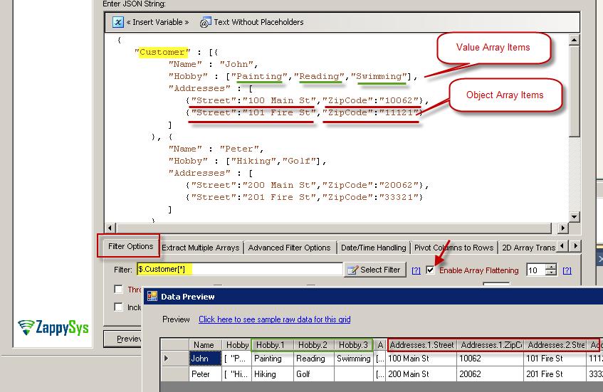 Reading JSON Arrays from file / REST API | ZappySys Blog