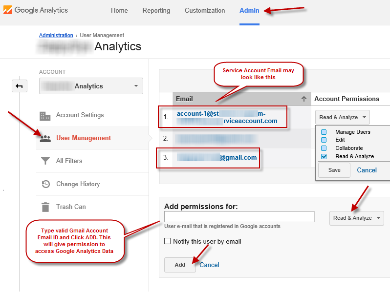 Add/Edit Permissions and User Account for Google Analytics Data Access (Service Account/ Normal Google Login)