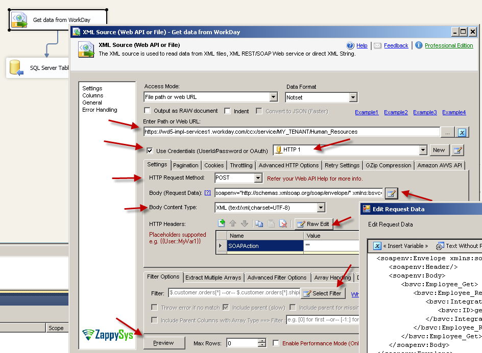 Get data from WorkDay Web Service (Call XML SOAP API in SSIS)