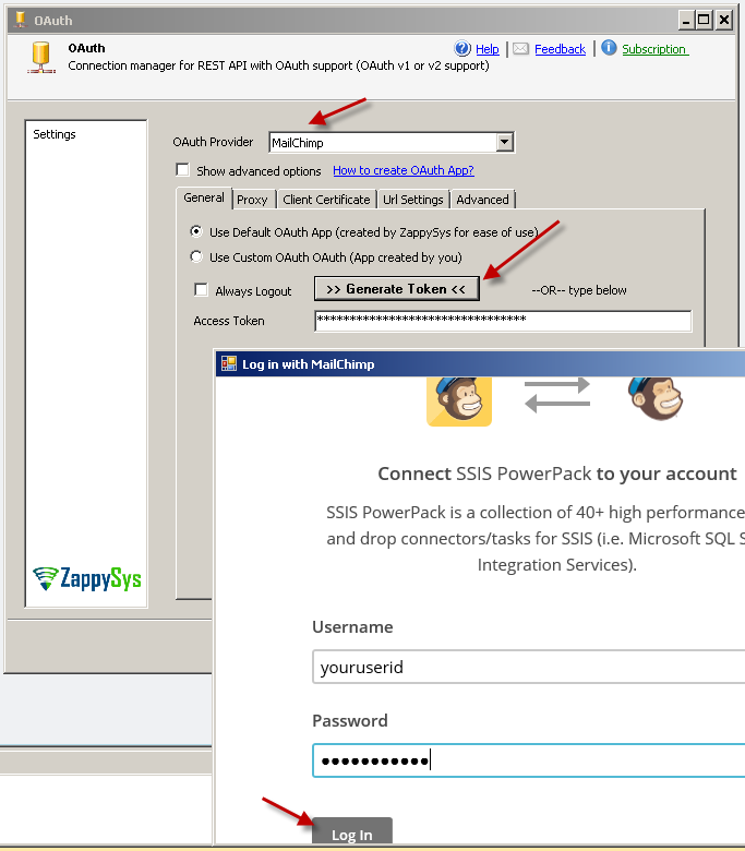 SSIS MailChimp OAuth Provider - OAuth connection manager