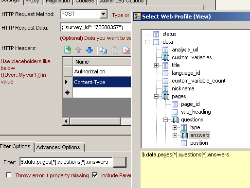 How to get data from SurveyMonkey in SSIS with REST API