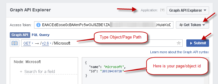 Using Facebook Graph API Explorer, Test API, Find Object ID / PageID from Name