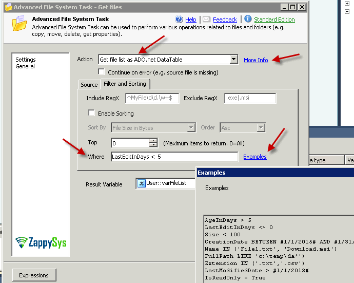 SSIS Advanced File System Task - Get files modified in last N days