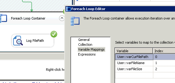Variable Mappings for ForEach Loop Task - Loop through files in a folder using SSIS