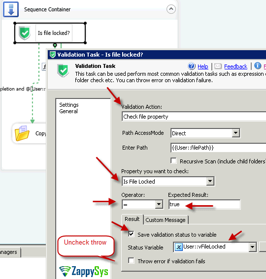 SSIS Validation Task -Check if file is locked. Save status to variable or throw error.