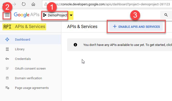 Enable Google APIs / Services