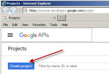 Create New Google API Project (Google API - Register new OAuth App)