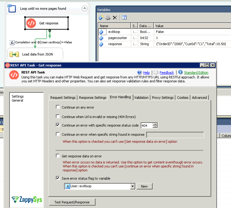 SSIS REST API Looping - Pass Page number in URL, SSIS Infinite Loop