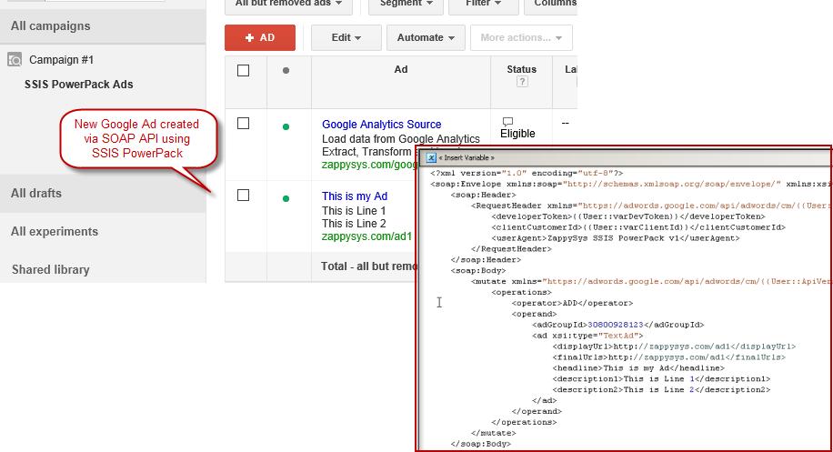 Verify Google Ad created programmatically using SOAP/XML API Call (SSIS REST API Task)
