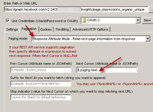 Facebook REST API Pagination (Loop through large data set)