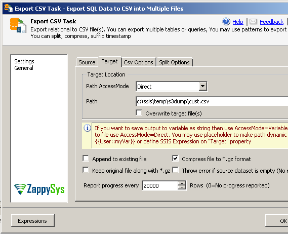 Compress exported SQL Server data files to GZip ( *.gz) in SSIS Export CSV Task