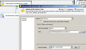Read file content into SSIS variable using SSIS Advanced File System task