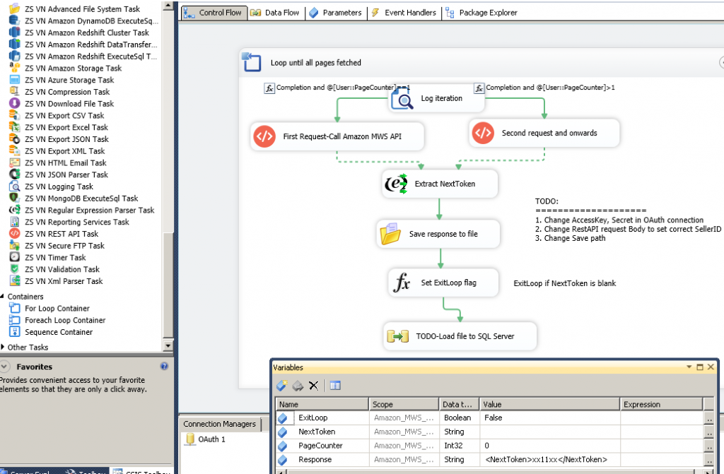 SSIS Example Package - Read data from Amazon MWS Web service (API Call). Paginate API calls using NextToken