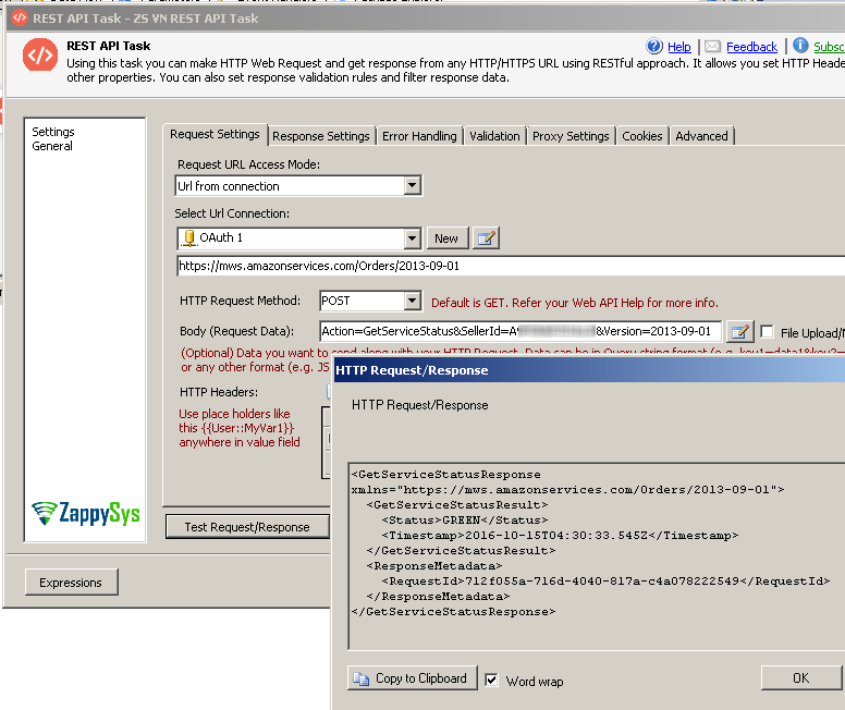 SSIS REST API Task - Call Amazon MWS API - Get XML data save into SSIS variable