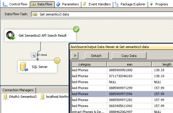 Read from Semantics3 REST API Call - Load into SQL Server using SSIS