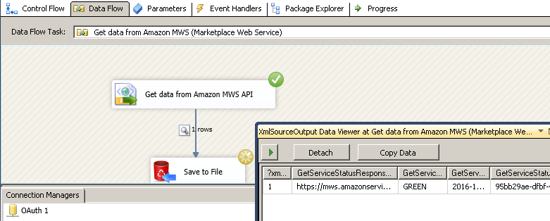 Get data from Amazon MWS API - Save to File or SQL Server using SSIS