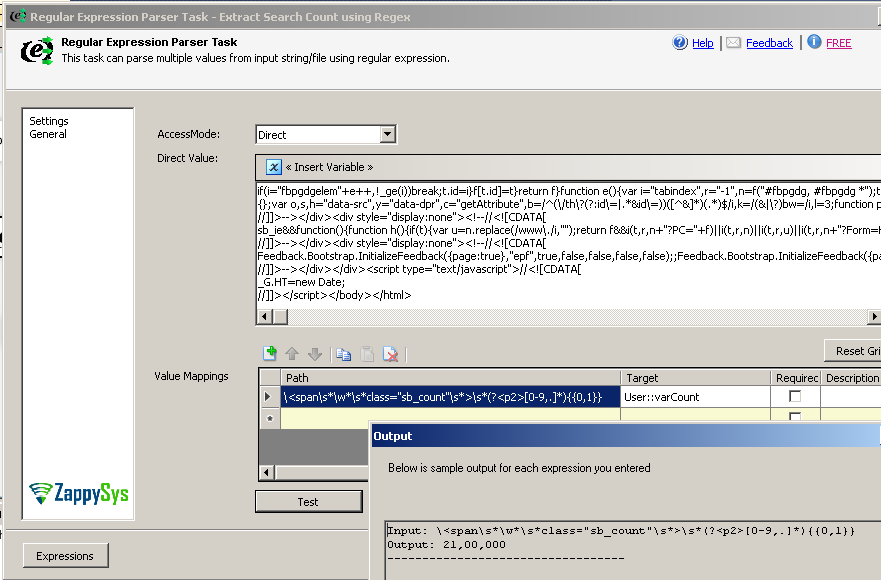 Using SSIS Regex Parser Task for Extracting HTML Content