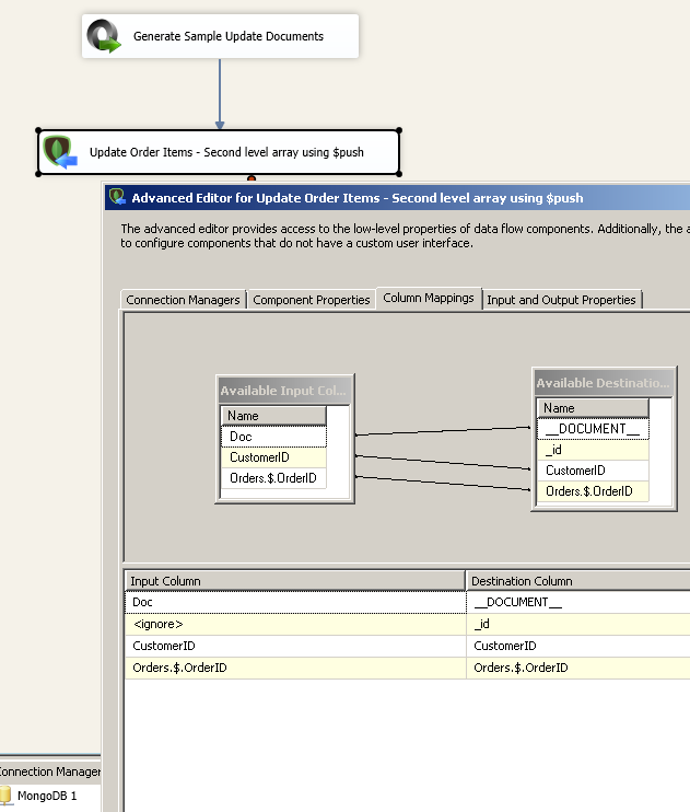 SSIS MongoDB Destination - Column Mappings