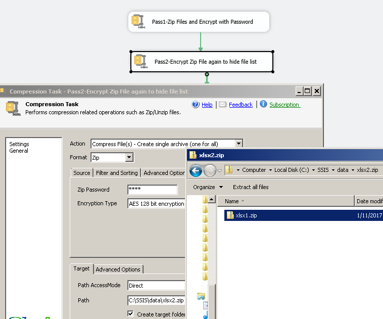 SSIS Zip File Task - Compress files and password protect