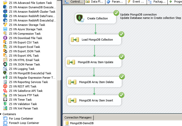 SSIS Example : Update MongoDB Array Items / Elements (Update, Delete, Insert - Using $set, $pull, $push)