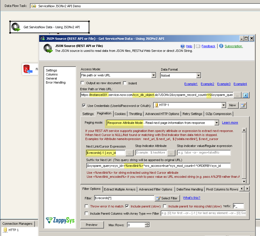 How to read data from ServiceNow REST API using SSIS | ZappySys Blog