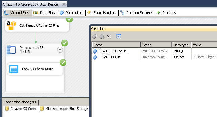 SSIS Package Execution - Copy Multiple S3 Files from Amazon to Azure