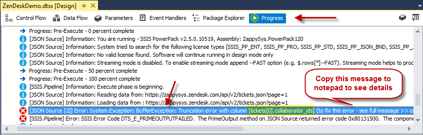 SSIS Runtime Error - BufferException / Truncation error