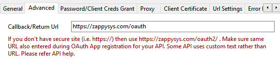 Set Callback/Return Url in OAuth Connection