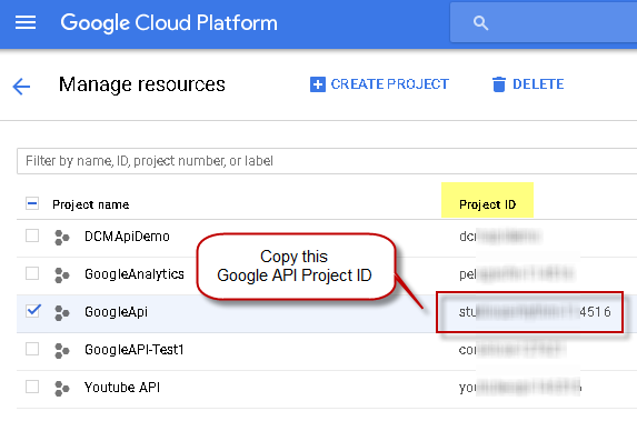 How to find Google API Project ID