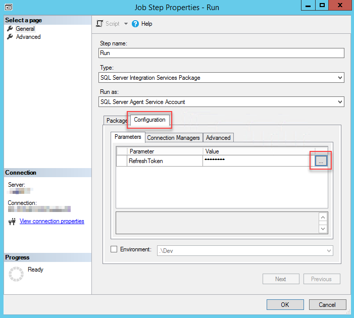 How to run SSIS package with sensitive data on SQL Server