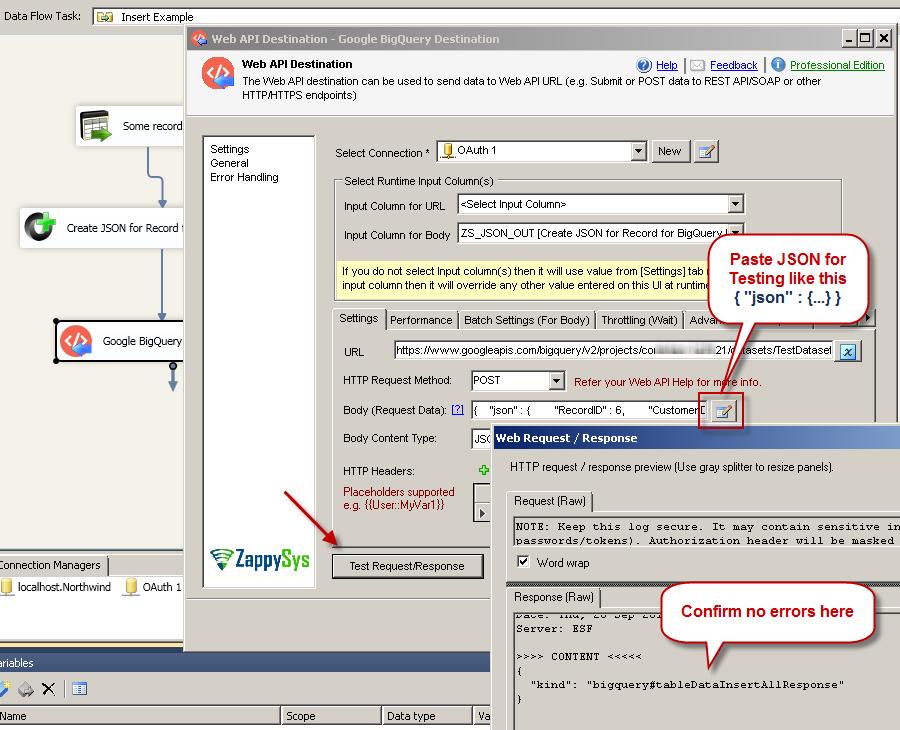 Test Google BigQuery Table Insert - SSIS Web API Destination UI