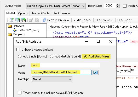 JSON Generator - Add Static Element