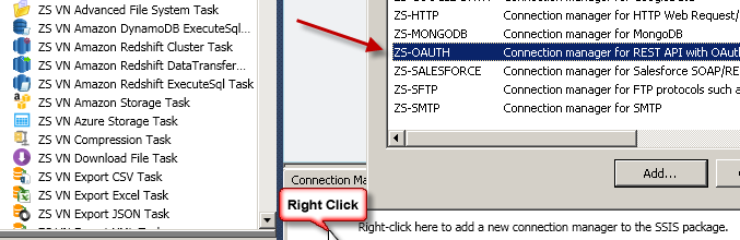 Create new SSIS OAuth API Connection Manager