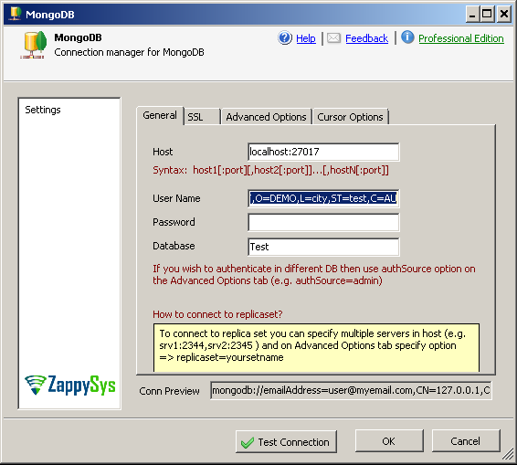 How to configure MongoDB SSL Connection in SSIS | ZappySys Blog