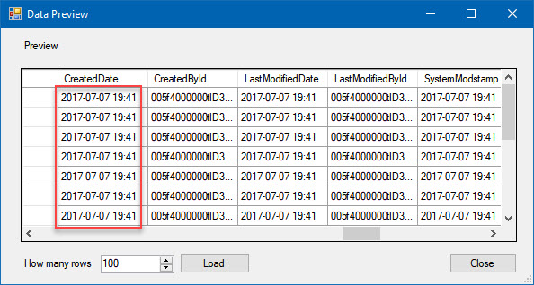 Data preview before formatting datetime column