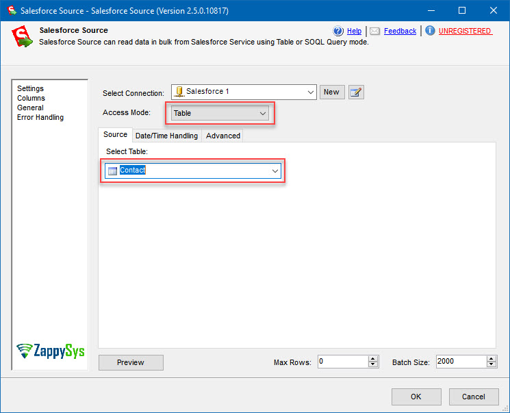 Choosing Salesforce contacts table to export them to SQL Server