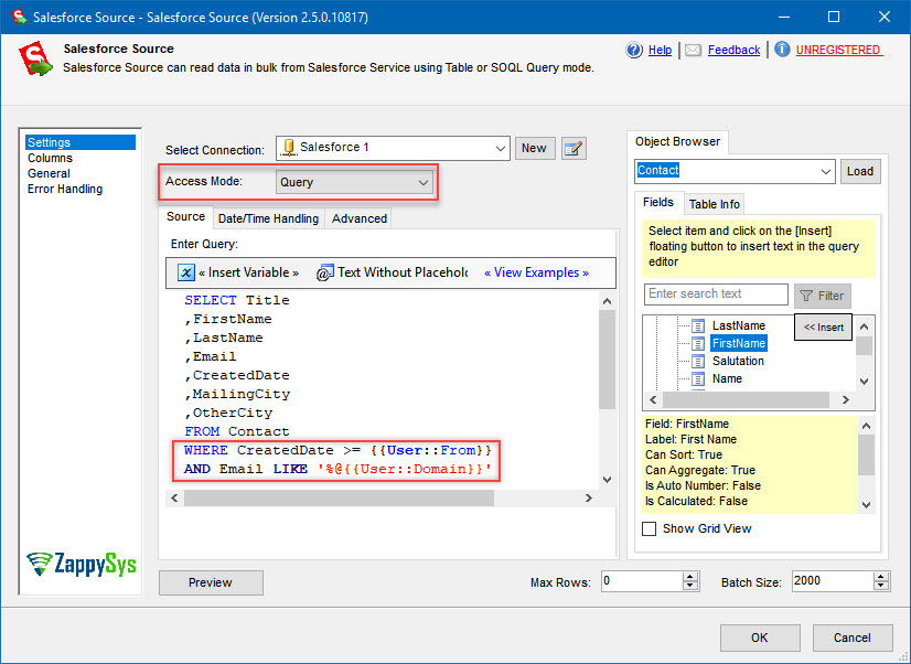 Inputting a SOQL query into a Salesforce Source SSIS component