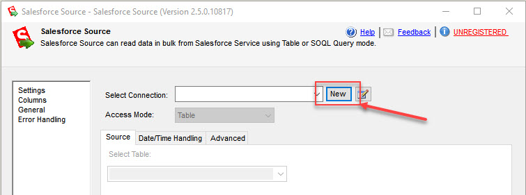 Creating new Salesforce Connection for Salesforce Source