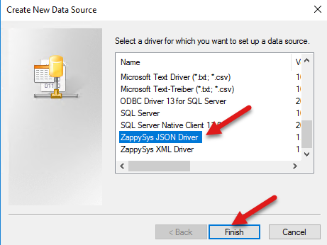 Select zappysys JSON Driver (needed for JSON / REST Connection)