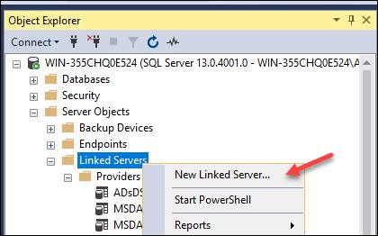 Add Linked Server in SQL Server