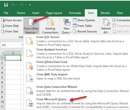 Open Excel and create queries