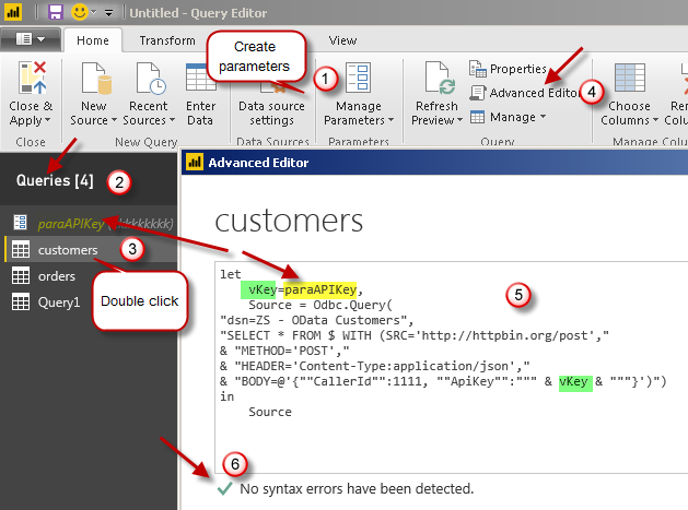 Import REST API in Power BI - Using parameters in SQL Query (Edit code - Advanced Mode)