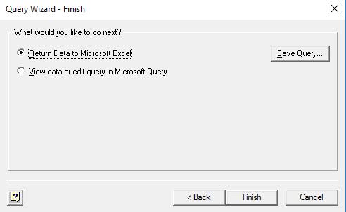 Return data in Excel