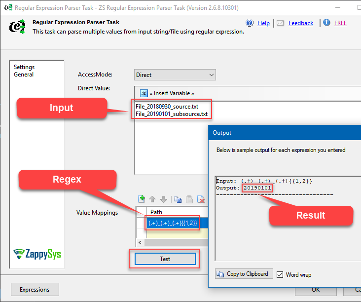 Using Regular Expressions in SSIS Regex Parser Task (Extract Groups)