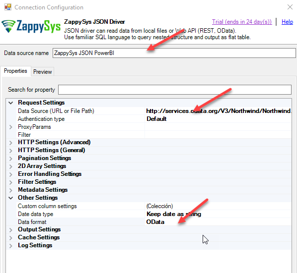 Advanced View - ZappySys JSON / REST API Driver Properties