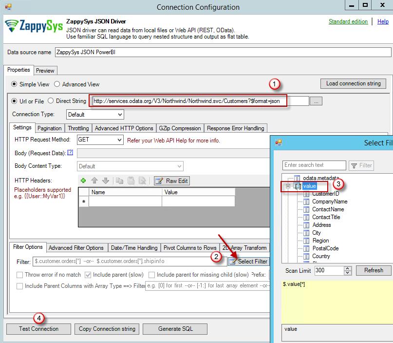 Simple View - Configure ZappySys JSON / REST API Driver Properties